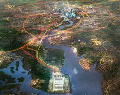 Immagine dall'alto del futuro Thames Hub Airport ed i suoi collegamenti via terra con #Londra. Progetto di #Norman #Foster