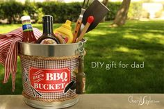 Our free printable template, a steel utility pail and a few simple supplies from the craft store creates the perfect diy bbq bucket gift for dad!