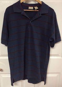 LL Bean Dark Blue Striped Short Sleeve Polo Shirt Size Medium TALL 100% Cotton  #LLBean #PoloRugby