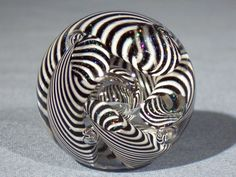 Marbles: Hand Made Art Glass James Alloway Dichroic Marble #1754  1.55 inch