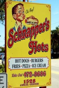 schnapper's-Put on your wayback hat and make this a first stop on the island. Appealing to visitors who want to get in touch with their inner child, this place is a combination Norman Rockwell/American Graffiti spot. Hot dogs, pizza, hand dipped ice cream, milkshakes, fish and chips, hand-cut fries and local owners put this spot far ahead of any chain burger spot.