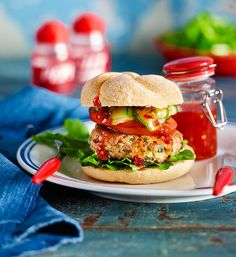 Thai chicken burgers: Subtle Thai flavours come together with a sweet chilli sauce to create a chicken burger like no other!
