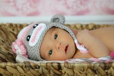cute crochet baby hats by Lillian on Etsy