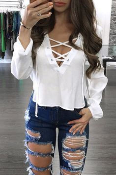 c52889a5f2 White See-through V-neck Lace-up Front Design Irregular Hem Crop Top - US 15.95  -YOINS