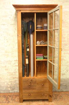 This uniquely designed rustic fly rod cabinet is a wonderful accent piece for any room in the home for storage of fly rods, reels and miscellaneous fishing equipment. The glass door was salvaged f. Trout Fishing Tips, Fly Fishing Gear, Fishing Lures, Fishing Stuff, Fishing Tackle, Fishing Basics, Fishing Tricks, Fishing Guide, Hardy Fishing