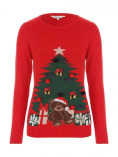 Get ready to rock around the Christmas tree with this women's novelty jumper. Featuring a bear and tree motif with bells attached, this jumper puts the fun into festive casual wear.