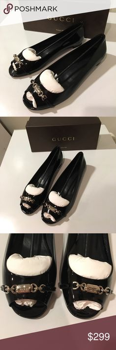 New Gucci black patent leather flat w/ name plate New Gucci black patent leather with Gucci name plate on the front of the open peep toes . 🇮🇹 Classic in design and very dainty. A must have for this fall. Great gift or get one for your self . ❤️🛍🎉 and for the price you are getting a great deal. It comes in with an original  Gucci box and it is 100% authentic . Made in Italy 🇮🇹🇮🇹🇮🇹 Gucci Shoes Flats & Loafers