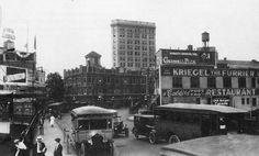 https://flic.kr/p/8mvC6P | Hudson Boulevard (now JFK Blvd) bridge over railroad cut near Journal Square in 1922. Jersey City