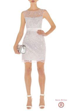 Karen Millen Floral Cutwork Dress Silver Dn155