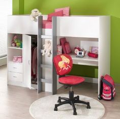 Cambridge High Sleeper Cabin Bed inc Wardrobe Chest of Drawers Bookcase Desk Shelving M2430