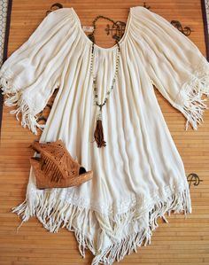 Cream Fringe Tunic ~ - Pink Leopard Boutique www.thepinkleopardboutique.org