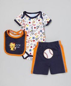 This White & Navy 'Home Run' Bodysuit Set - Infant by Duck Duck Goose is perfect! #zulilyfinds