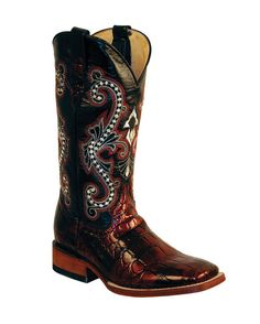Women's Print Gator Boot S-Toe - Black Cherry