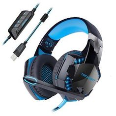 £19.99 Gaming Headset,TeckNet 7.1 Channel Surround Sound Gaming Headset Headband Over-Ear Headphone With Noise Cancelling Mic Microphone and LED Lighting For PC Computer Gaming, USB Connection