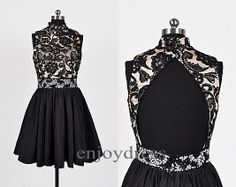 Black Lace Satin Prom Dresses Beaded Ball Gowns Formal Evening Dress Sexy Open Back Party Dresses Bridesmaid dresses 2014 Short Black Dress on Etsy, $93.00