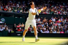Andy Murray defending his Wimbledon title.