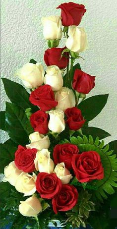 Red Roses with white Roses Beautiful Flowers Wallpapers, Beautiful Rose Flowers, Exotic Flowers, Amazing Flowers, Pretty Flowers, Church Flower Arrangements, Artificial Flower Arrangements, Rose Arrangements, Beautiful Flower Arrangements