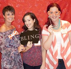 Fun photo booth pic of Tylar Schweickert / Ty Style Me, Carmen Taylor Rogge / the Flair Exchange and Melissa Chambers / Melissa Creates and Blogfete at Monarch Jewelry's Blog and Bling Event. The Monarch Jewelry showroom is located in Winter Park, Florida. #MonarchBLING  #FineJewelry