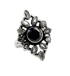 Genuine Black Onyx Round Gemstone with Herkimer Diamonds set into 925 Sterling Silver Victorian Style Statement Jewellery Ring US Sz. by Ameogem on Etsy Herkimer Diamond, Black Onyx, Victorian Fashion, Statement Jewelry, Gemstone Rings, Diamonds, Brooch, Gemstones, Jewellery