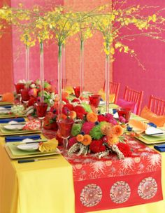 i like the boldness of this table setting. i would do green table cloth w/ white runner.keep the vases but remove all the flowers from the runner. Elegant Birthday Party, Birthday Party Tables, Table Setting Pictures, Entertainment Table, Floral Tablecloth, Beautiful Flower Arrangements, Floral Arrangements, Wedding Table Settings, Table Decorations