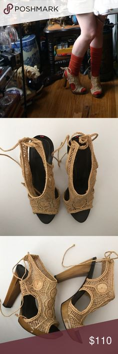 Armand Basi crochet horn heel sandals These are fab; resort chic. I typically wore with socks so the foot beds stayed pretty nice; soles show normal, apparent wear. So much life left. Size 37; fit like 7. No trades. No holds. Please ask all questions prior to making offer or purchase. Armand Basi Shoes Heels