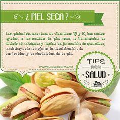 Pistaches, un alimento que te ayudará a librarte de la piel seca. #Salud #TipsExpress