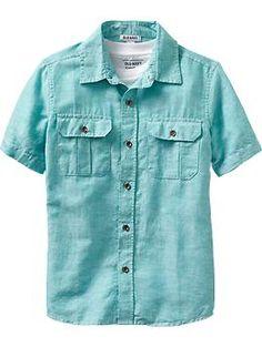 Ben     Boys Short-Sleeve Linen-Blend Shirts | Old Navy