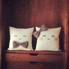 His & her cute pillows Cute Pillows, Diy Pillows, Decorative Pillows, Cushions, Throw Pillows, Sewing Crafts, Sewing Projects, Diy Projects, Cushion Covers