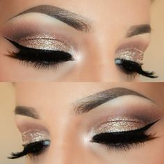 gold glitter eye makeup with black winged liner | @caprisssmakeup