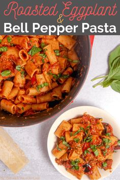 This roasted eggplant and red bell pepper pasta with a made from scratch tomato sauce is vegetarian comfort food at it's finest! #eggplant #bellpepper #roastedeggplant #vegetarian #pastarecipe #veegtarianpasta #eggplantpasta #roastedeggplant #roastedbellpeppers Vegetarian Pasta Dishes, Vegetarian Comfort Food, Vegetarian Recipes, Roasted Eggplant Pasta, Roast Eggplant, Pepper Pasta, Bell Pepper, Make Your Own Pasta, Homemade Pasta