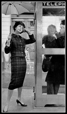 Jacky Mazel in orange and green plaid suit by Guy Laroche, photo by Guy Arsac, 1957