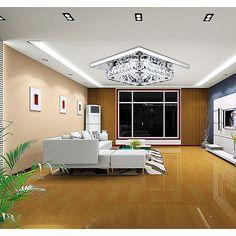 NEW Modern LED Flush Ceiling Light Pendant Fixture Lighting Crystal Chandelier