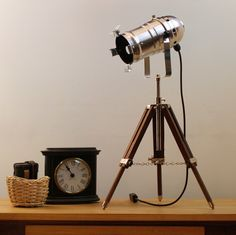 Table Lamp - Medium Size Theatre Spotlight on Small Tripod