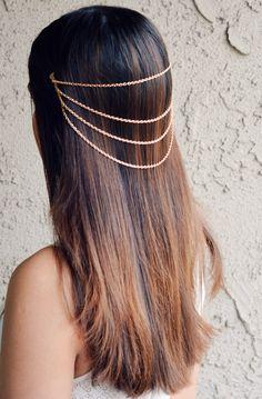 Hair Chain Jewelry in Gold Barrette Head Accessory Boho Coachella Hippie Vintage