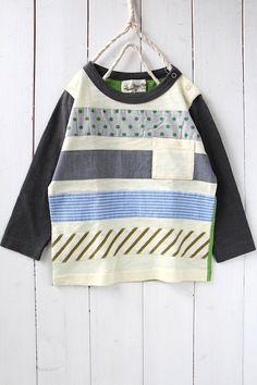 パッチワーク長袖Tシャツ/アイボリー - 100% picnic.