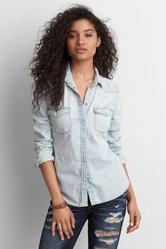 American Eagle Outfitters AEO Western Boyfriend Shirt #chambray