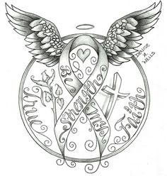 Strenth awareness ribbon tattoo design by Denise A. Wells