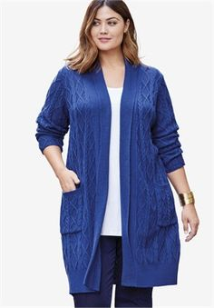 Jessica London Long Cable Cardigan