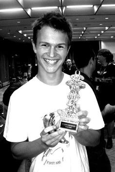 Ansel Elgort and a miniture painting award