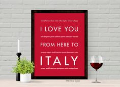 I Love You From Here To ITALY art print