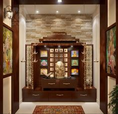 Architecture Home Design Projects Inspirations for Yours Lighting Pooja Room Idea Simple Tricks To Build A Beautiful For Indian Homes Temple Room, Home Temple, Wooden Temple For Home, Room Interior, Interior Design Living Room, Living Room Designs, Interior Designing, Living Rooms, Design Bedroom