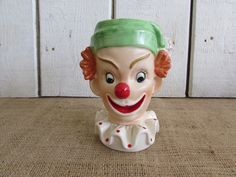 Vintage Ceramic Clown Head Vase, Clown Head Vase, Vintage Vases, Old Vases, Clowns, Vintage Clown Items, Home Decor Items, Childrens Decor by OpenTwentyFourSeven on Etsy