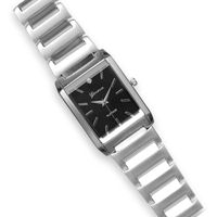 Silver Tone Men's Fashion Watch with Clear Crystal Accent