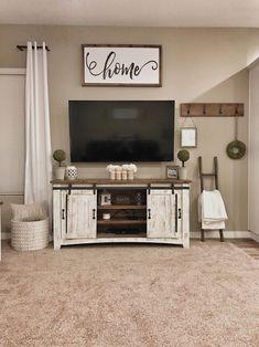 Farmhouse tv stand decor #HomeDecor #tvstanddesign #Familyroomdesign