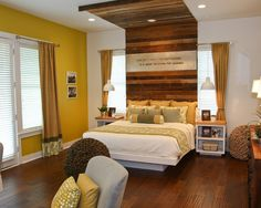Love the wood over the bed, and the idea of the saying on it too.