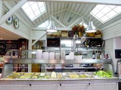a casual but smart restaurant that serves fresh and healthy prepared foods, salad-bar style, with indoor and outdoor seating. it's a favorite of the chic and beautiful set.