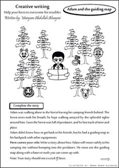 Adam and the guiding map, Help the story's hero to overcome his troubles.  A Creative Writing worksheet for middle graders.This is a free practice of writing that helps the students to improve their writing skills.