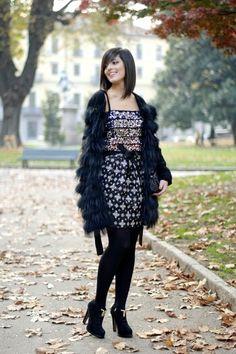 Sequins cocktail dress fur coat 2