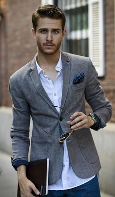 Pocket square and jacket with rolled up sleeves... Casual but sexy yesness!