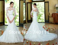 Elegant  With Jacket  Lace Mermaid Wedding Dress Vestidos De Novia Beading Belt Bridal Gown $186.99